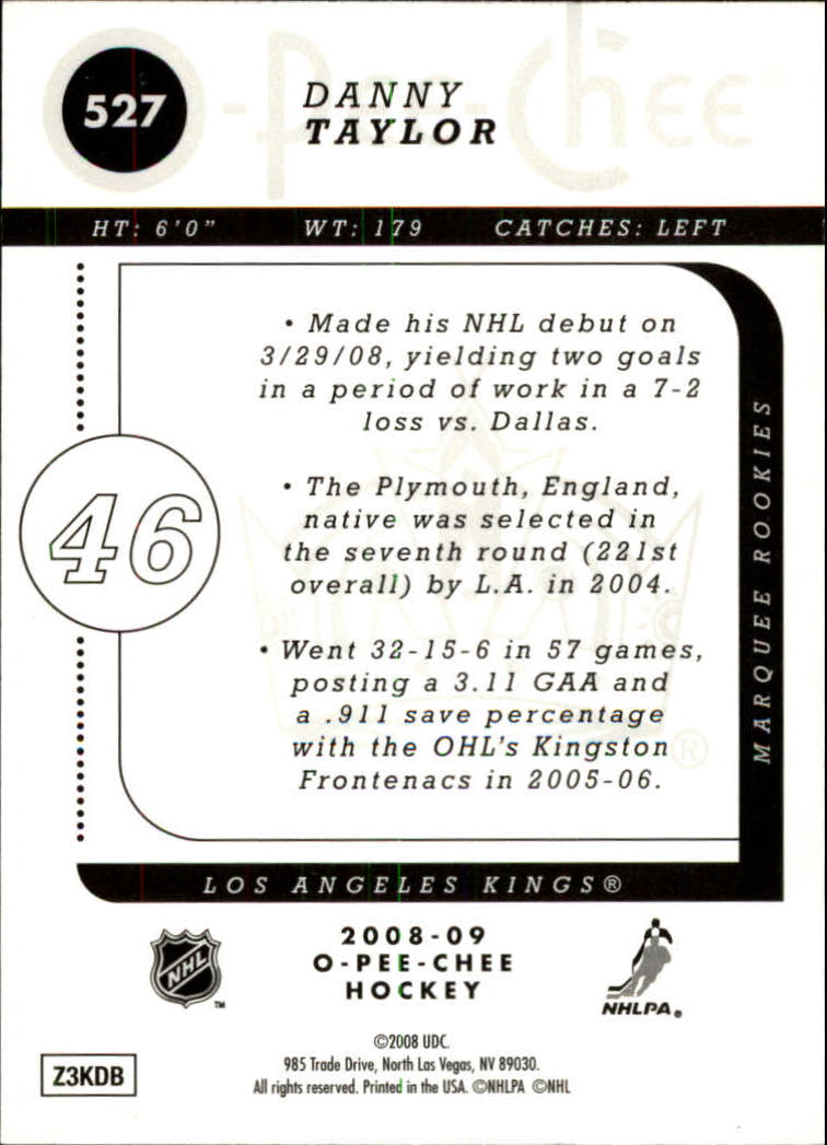 2008-09 O-Pee-Chee Gold #527 Danny Taylor back image