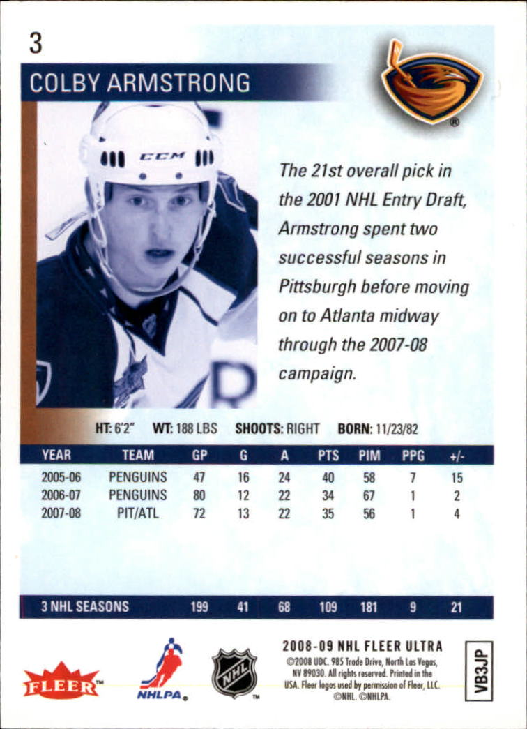 2008-09 Ultra #3 Colby Armstrong back image