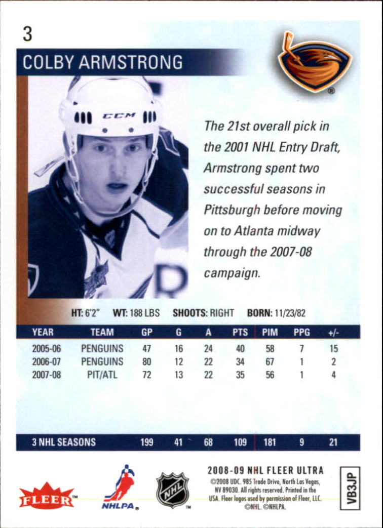 2008-09 Ultra Gold Medallion #3 Colby Armstrong back image