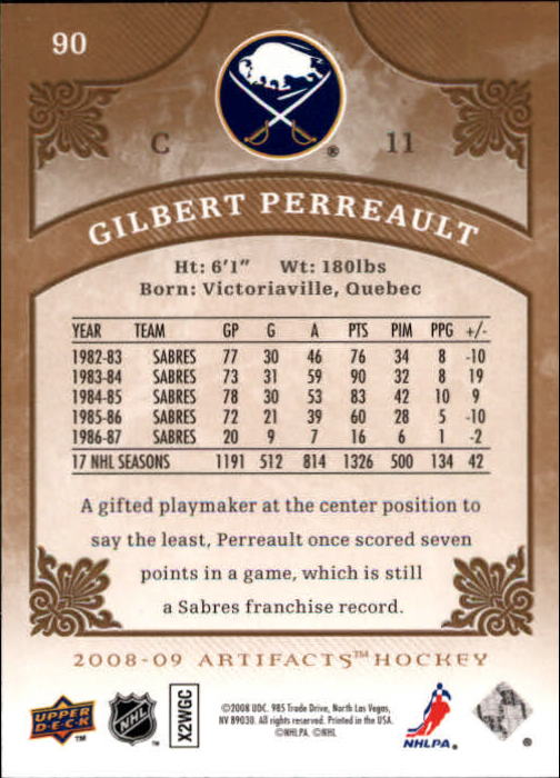 2008-09 Artifacts #90 Gilbert Perreault back image