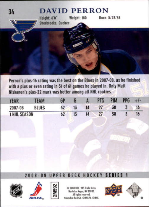 2008-09 Upper Deck #34 David Perron back image