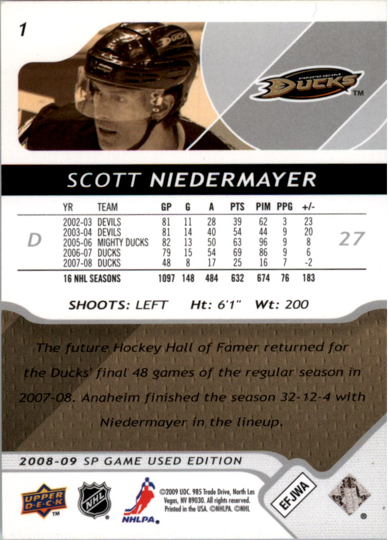 2008-09 SP Game Used #1 Scott Niedermayer back image