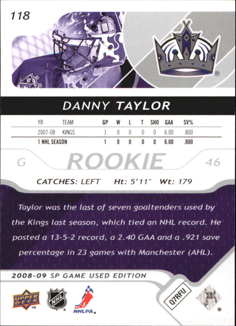 2008-09 SP Game Used #118 Danny Taylor RC back image