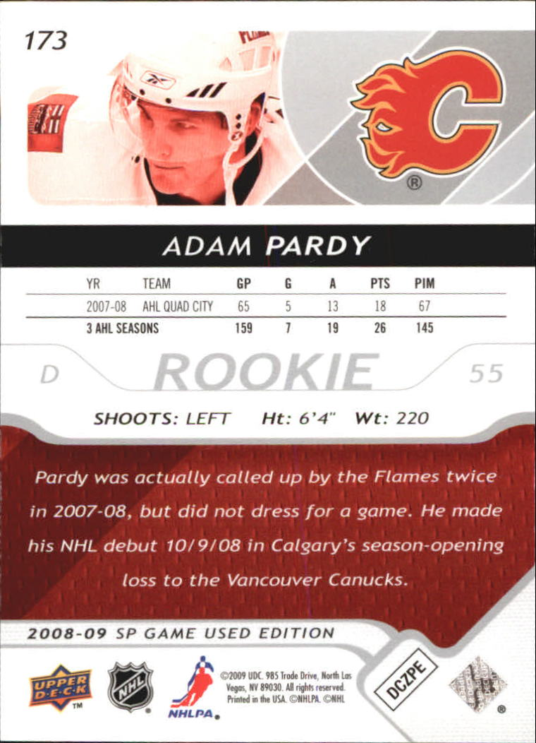 2008-09 SP Game Used #173 Adam Pardy RC back image