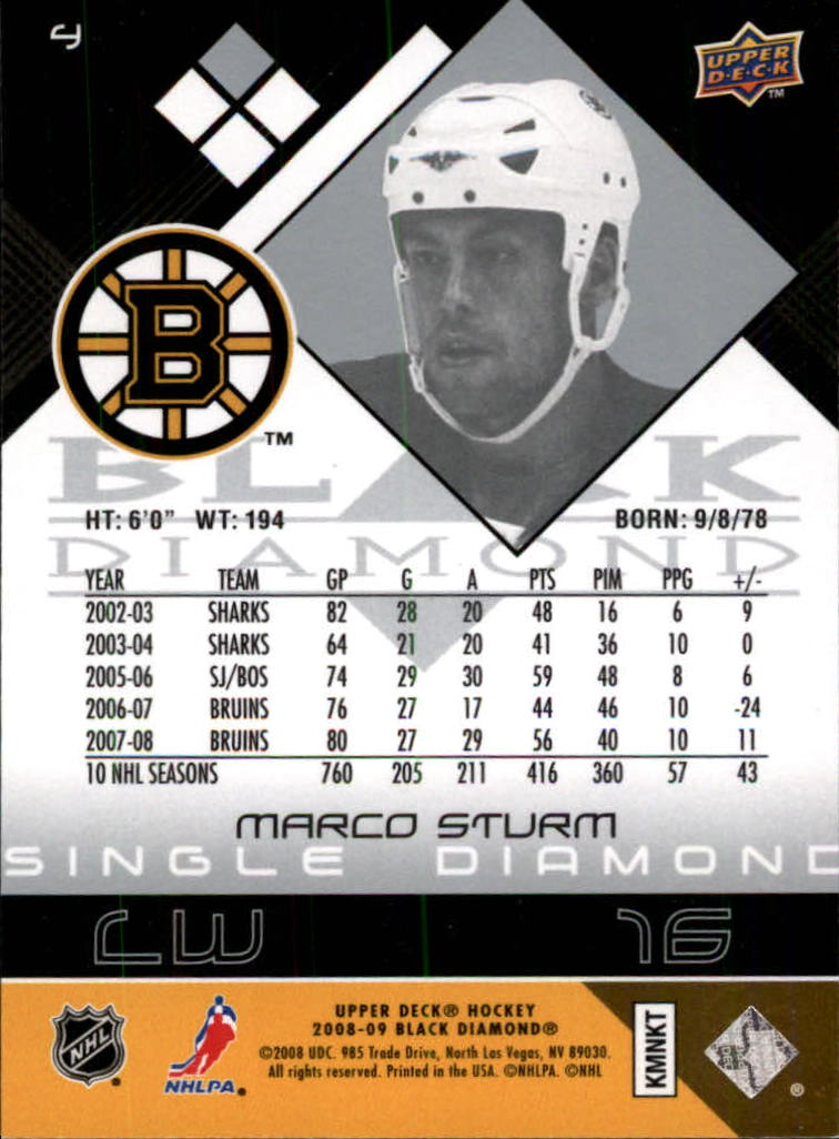 2008-09 Black Diamond #4 Marco Sturm back image