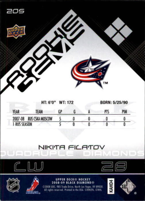 2008-09 Black Diamond #205 Nikita Filatov RC back image