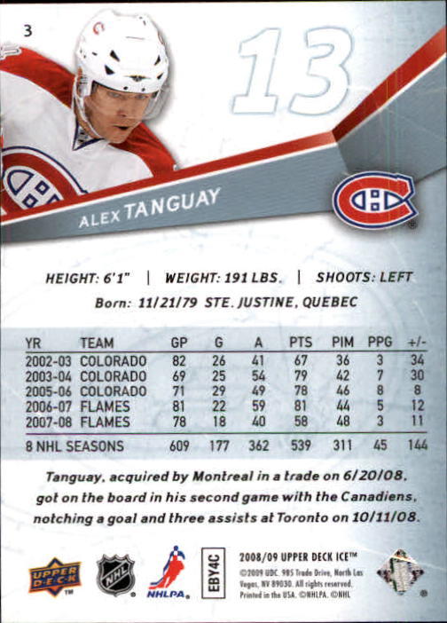 2008-09 Upper Deck Ice #3 Alex Tanguay back image