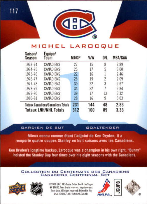 2008-09 Upper Deck Montreal Canadiens Centennial #117 Michel Larocque back image