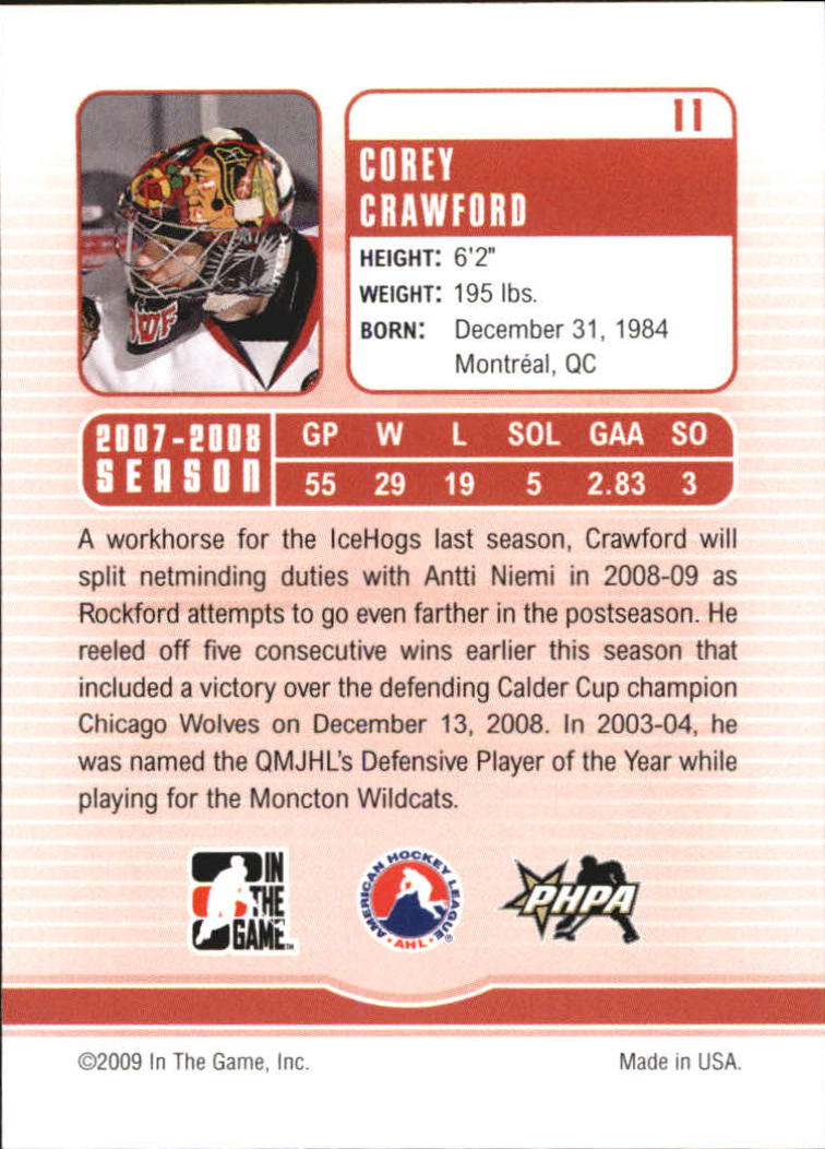 2008-09 Between The Pipes #11 Corey Crawford back image