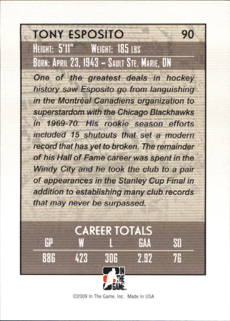 2008-09 Between The Pipes #90 Tony Esposito back image