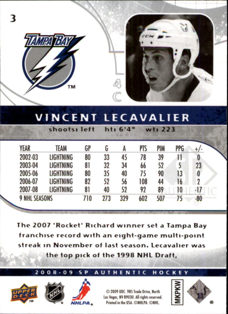 2008-09 SP Authentic #3 Vincent Lecavalier back image