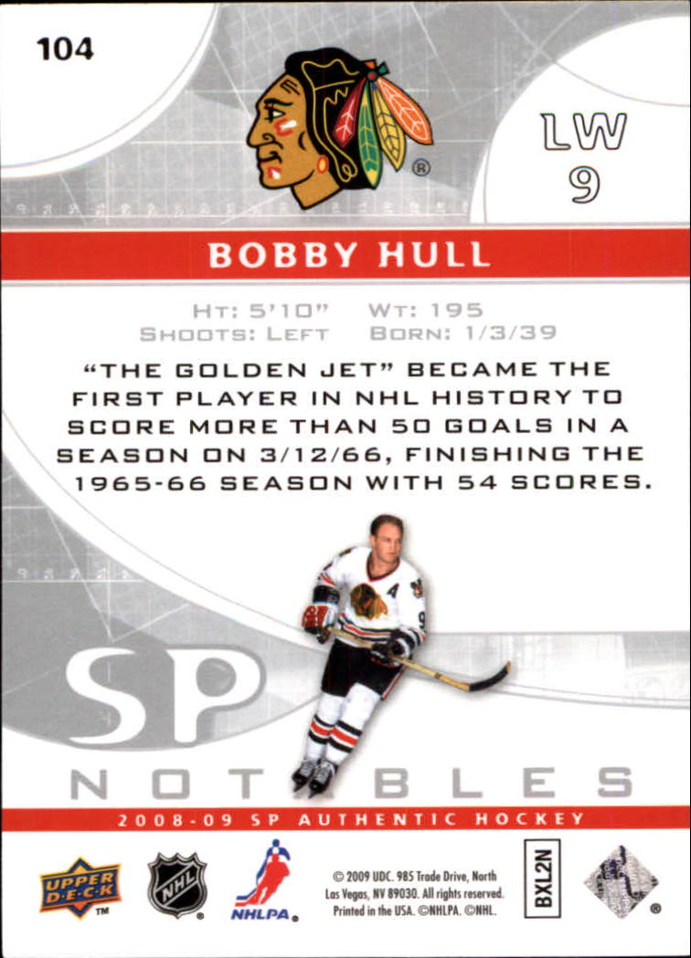 2008-09 SP Authentic #104 Bobby Hull N back image