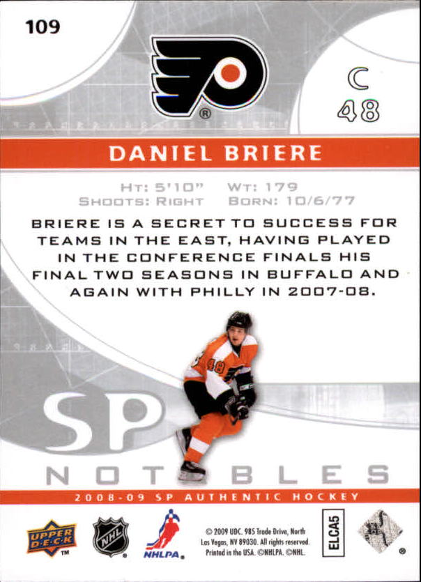 2008-09 SP Authentic #109 Daniel Briere N back image