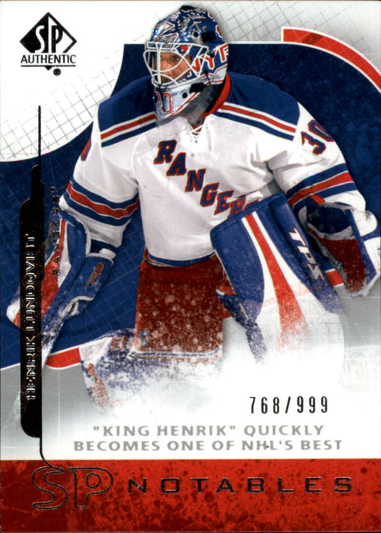 2008-09 SP Authentic #116 Henrik Lundqvist N