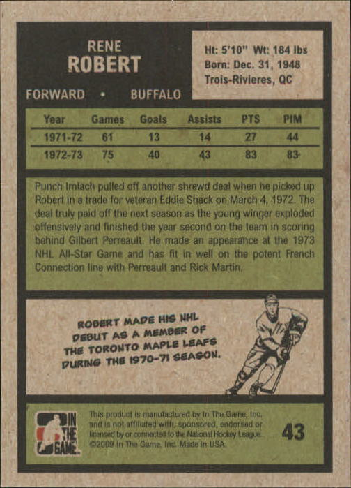 2009-10 ITG 1972 The Year In Hockey #43 Rene Robert