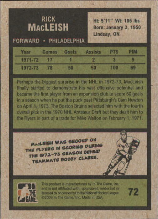 2009-10 ITG 1972 The Year In Hockey #72 Rick MacLeish back image