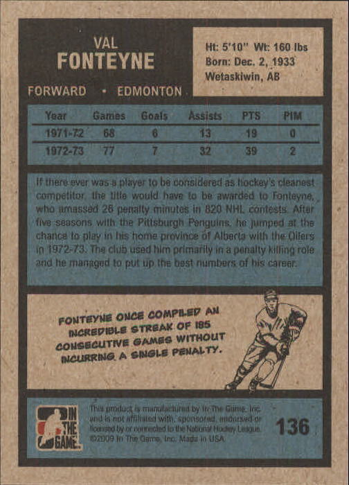 2009-10 ITG 1972 The Year In Hockey #136 Val Fonteyne back image