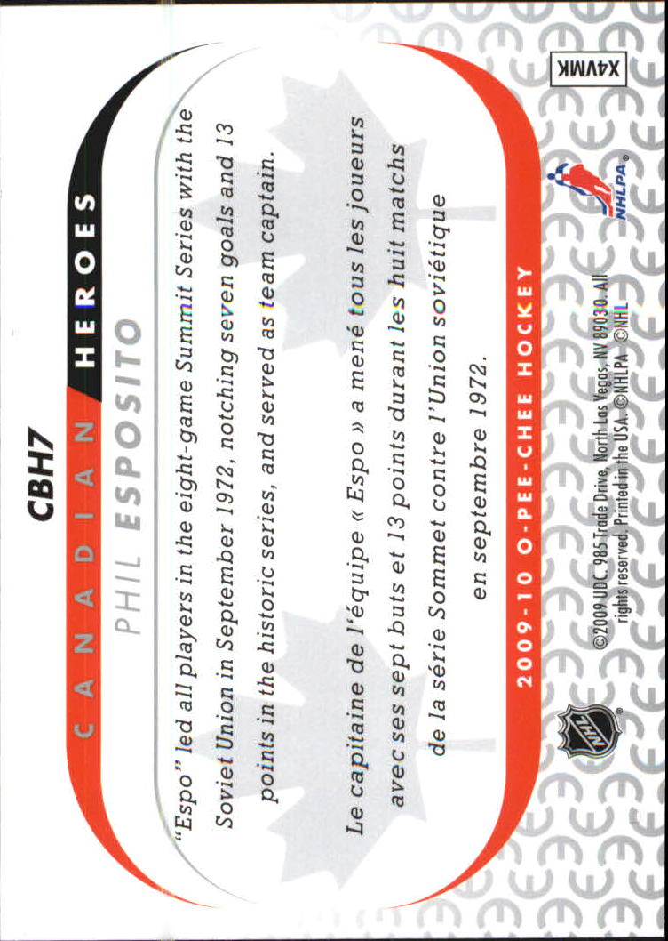 2009-10 O-Pee-Chee Canadian Heroes Foil #CBH7 Phil Esposito back image