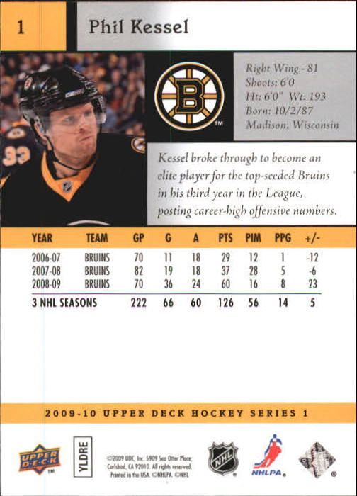 2009-10 Upper Deck #1 Phil Kessel back image