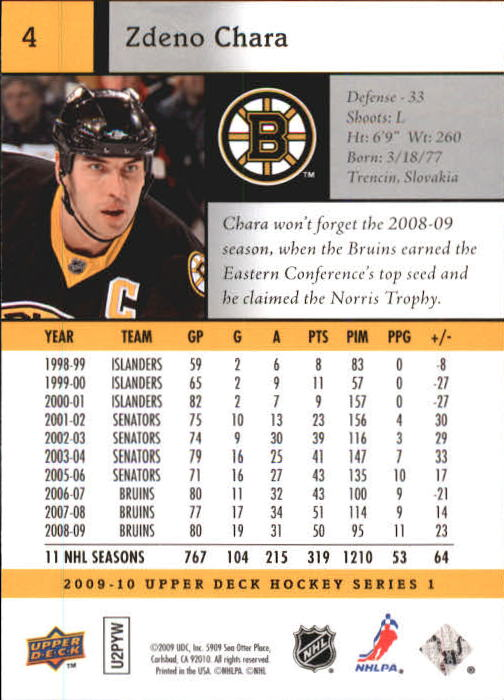 2009-10 Upper Deck #4 Zdeno Chara back image