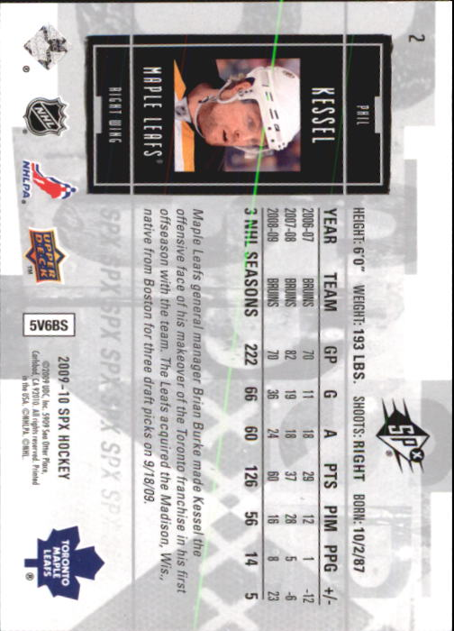 2009-10 SPx #2 Phil Kessel back image