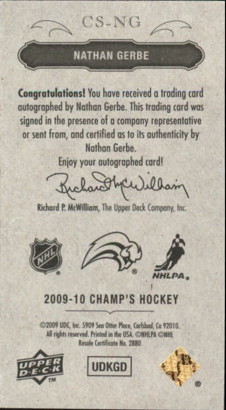 2009-10 Upper Deck Champ's Signatures #CSNG Nathan Gerbe back image