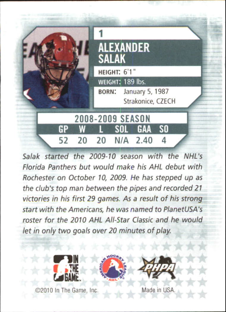 2009-10 Between The Pipes #1 Alexander Salak back image