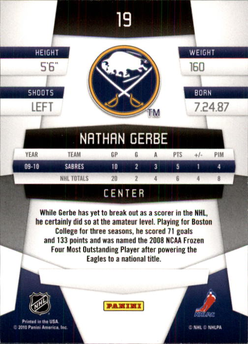 2010-11 Certified #19 Nathan Gerbe back image