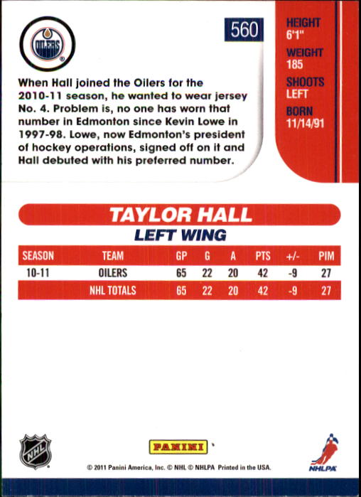 2010-11 Score #560 Taylor Hall back image