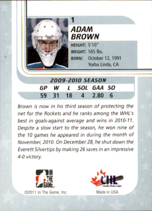 2010-11 Between The Pipes #1 Adam Brown back image