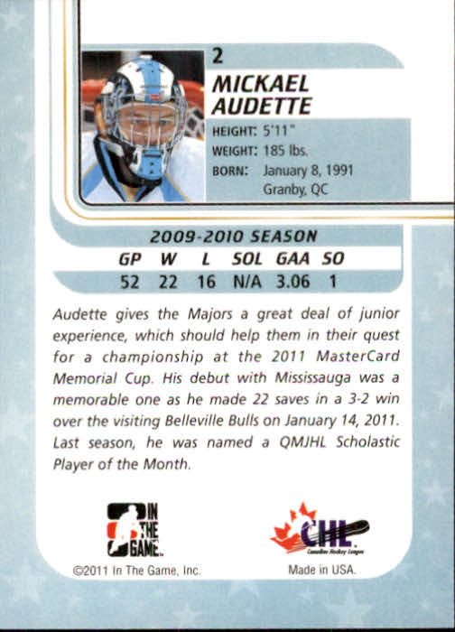 2010-11 Between The Pipes #2 Mickael Audette back image