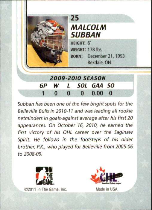2010-11 Between The Pipes #25 Malcolm Subban back image