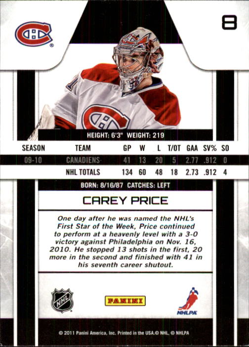 2010-11 Zenith #8 Carey Price back image