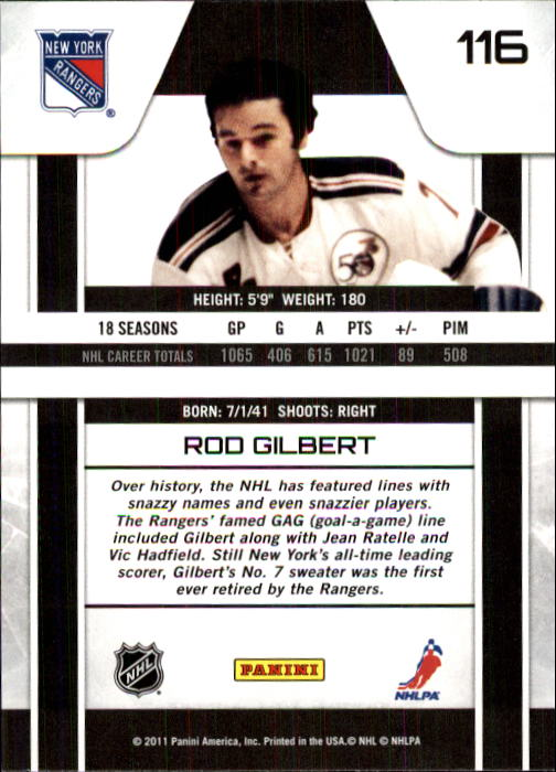 2010-11 Zenith #116 Rod Gilbert back image