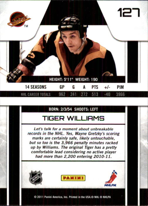 2010-11 Zenith #127 Tiger Williams back image