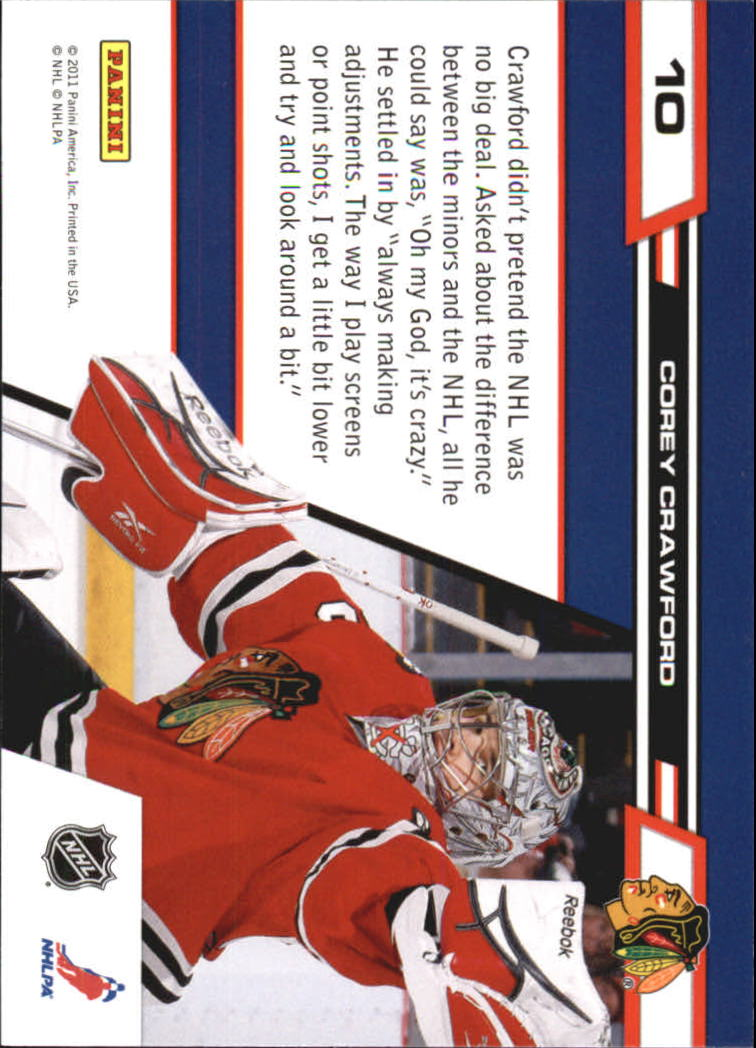 2010-11 Zenith Crease Is The Word #10 Corey Crawford back image