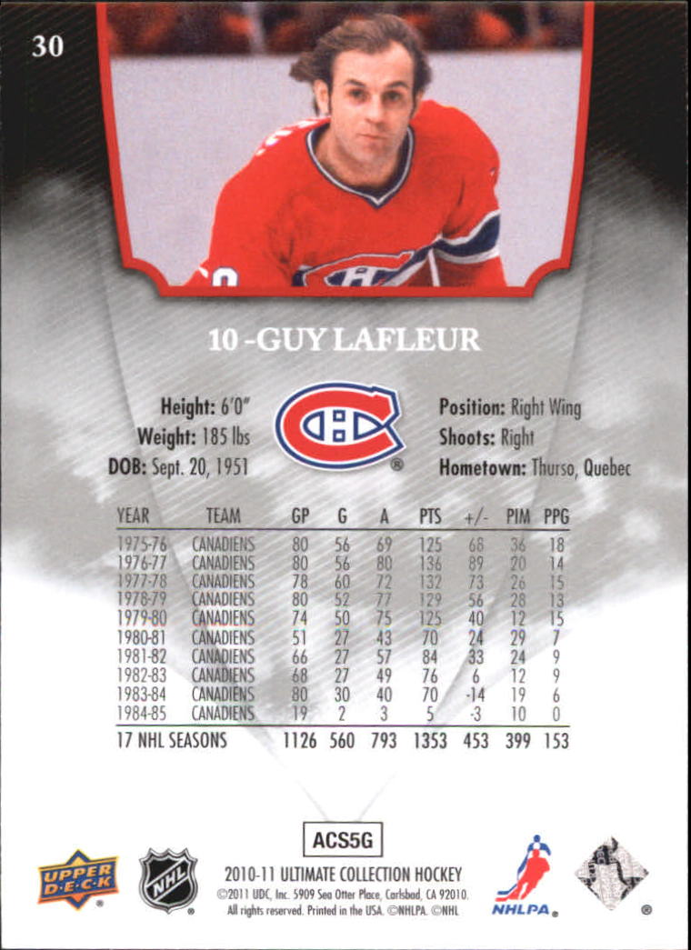 2010-11 Ultimate Collection #30 Guy Lafleur