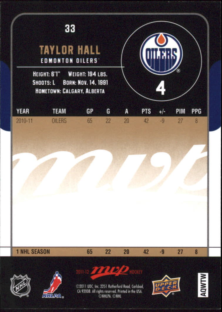 2011-12 Upper Deck MVP #33 Taylor Hall