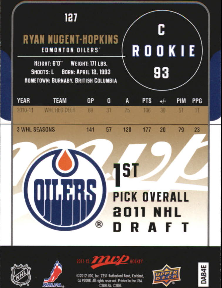 2011-12 Upper Deck MVP #127 Ryan Nugent-Hopkins RC
