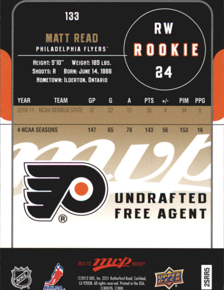 2011-12 Upper Deck MVP #133 Matt Read RC back image