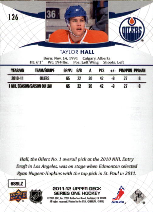 2011-12 Upper Deck #126 Taylor Hall back image