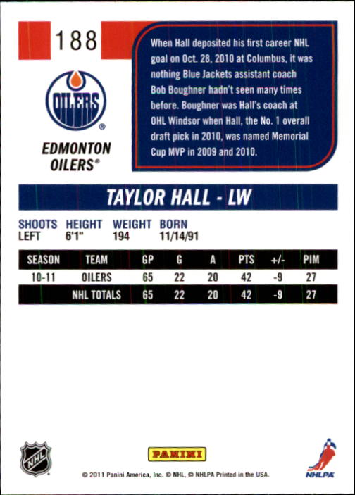 2011-12 Score #188 Taylor Hall back image