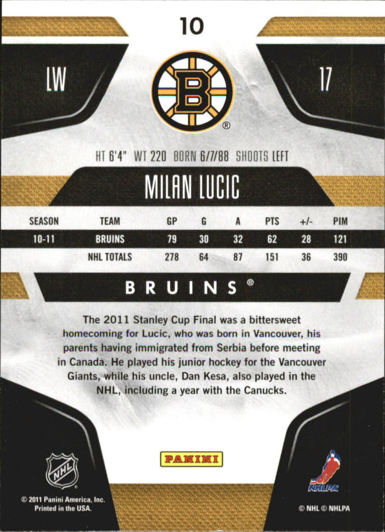 2011-12 Certified Totally Silver #10 Milan Lucic back image