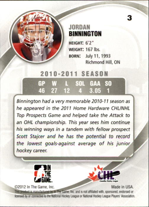 2011-12 Between The Pipes #3 Jordan Binnington back image