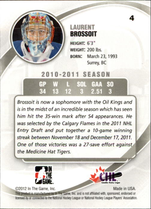 2011-12 Between The Pipes #4 Laurent Brossoit back image