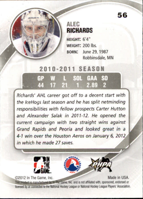 2011-12 Between The Pipes #56 Alec Richards