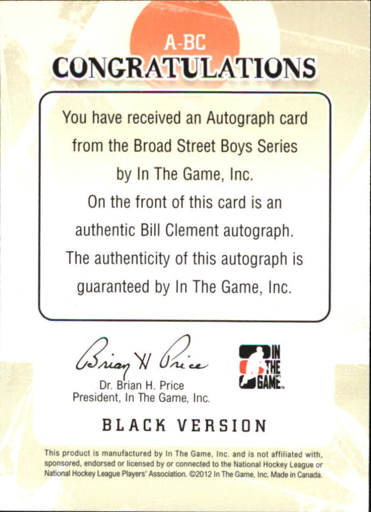2011-12 ITG Broad Street Boys Autographs #ABC Bill Clement