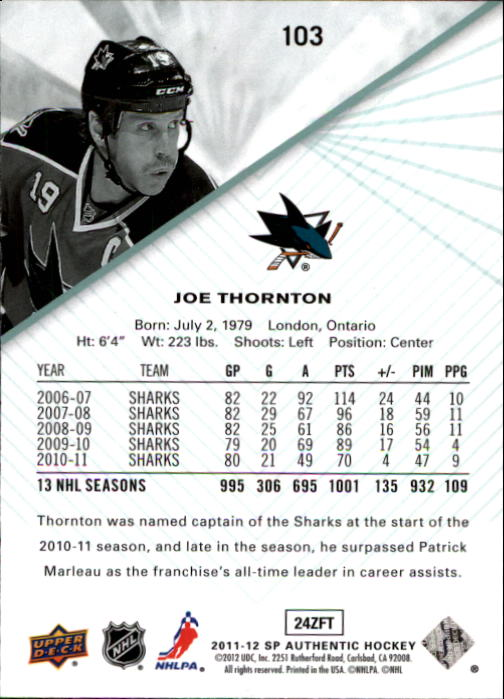 2011-12 SP Authentic #103 Joe Thornton
