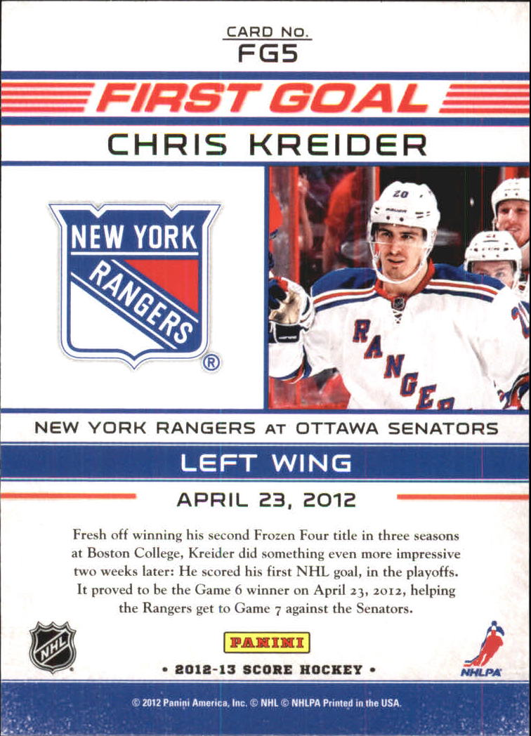 2012-13 Score First Goal #FG5 Chris Kreider back image
