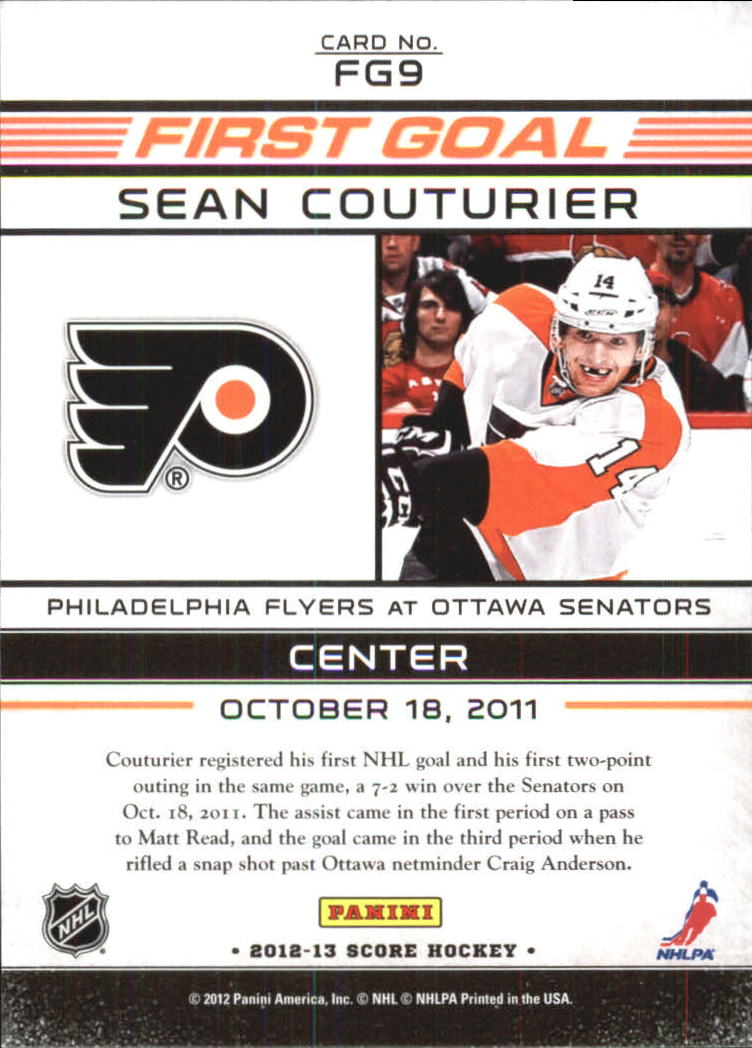 2012-13 Score First Goal #FG9 Sean Couturier back image